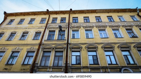 Facade of old apartment at sunny day in Vyborg, Russia. Vyborg is 174km northwest of St Petersburg and just 30km from the Finnish border.