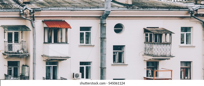 Facade of the old architecture in Minsk, Belarus