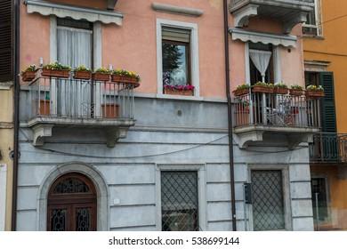 A facade of an old building.