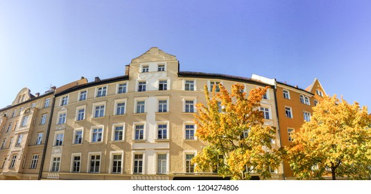 Facade of an old building in Art Nouveau Gründerzeit style, apartment building in the city after renovation