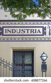 facade of Old building of the FECAP school , one of the oldest technical educational institutions and higher of the Brazil, created in 1902. - industry write in portuguese