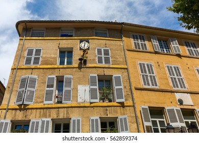 facade of an old building at the Place des Precheurs in Aix-en-Provence, South France