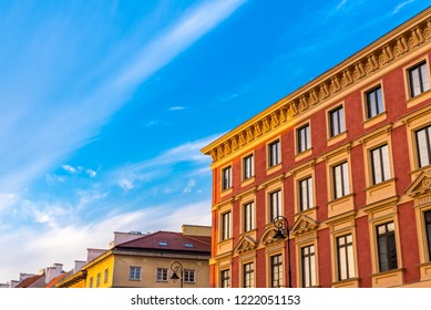 Facade of the old building at sunrise