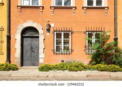 Facade of the old building in Warsaw, Poland