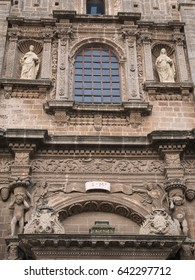 Facade of old characteristic romanic church in Nardò, Italy