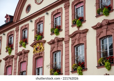 Facade of old city hall circa 1741, Offenburg, Baden-Wurttemberg, Germany.