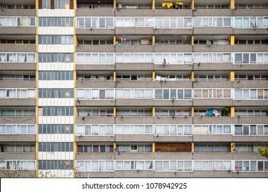 Facade of old council tower block around Walworth area in south east London