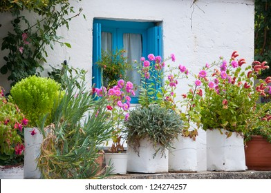 Facade of an old Greek house on the island of Crete