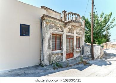 Facade of old greek residential house in Embonas village, Rhodes, Greece