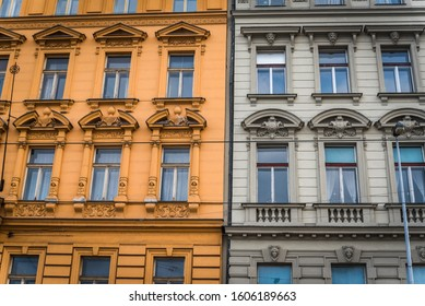 Facade of the old historical buildings in Prague. Prague is the capital town of Czech Republic and is a famous travel destination.