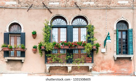 facade of an old house with a balcony in Venice