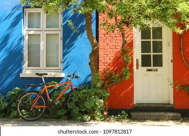 The facade of the old house in Copenhagen, Denmark.