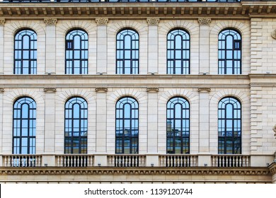 The facade of the old house. Decorative wall and windows. Saint-Petersburg, Russia.