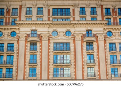 Facade of the old house in Moscow, Russia