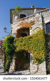 The facade of an old stone house overgrown with ivy