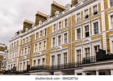 Facade of an opulent  British Victorian Edwardian terraced flat in South Kensington, London.