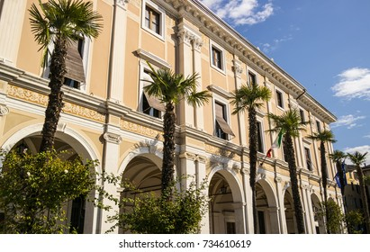 Facade of a palace in Salò on Lake Garda in the province of Brescia, Lombardy - Italy
