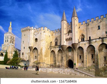 Facade of the palace of the popes in Avignon in Provence, France.