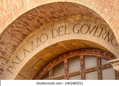 Facade of the Palazzo del Governo (Government Palace) inaugurated in 1934 by Benito Mussolini in the fascist era - Taranto, Puglia, Italy