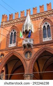 The facade of Palazzo della Mertsantsiya in Bologna. Italy