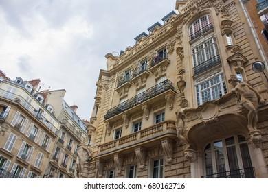 The facade of the Parisian house