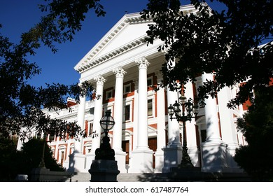 Facade of parliament building in a Neoclassical design, Cape Town, South Africa