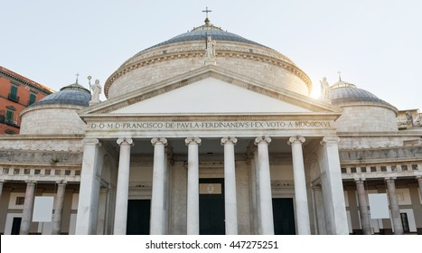 Facade of Pontifical Royal basilica by St. Francis of Paola in Plebiscito's Square - Naples- IT