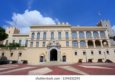 Facade of the Prince's Palace of Monaco,  residence of Prince of Monaco