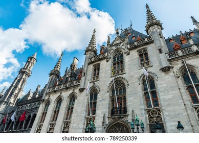 Facade of the Provinciaal Hof (Province Court), on the market place of Bruges in Belgium