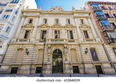 Facade of Real Academia Nacional de Medicina building. Built in 1912 by Luis Maria Cabello Lapiedra. Located in Arrieta Street, Madrid, Spain