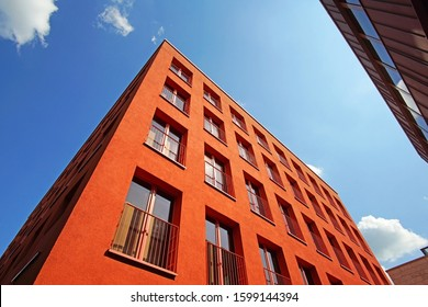 Facade of a red office building