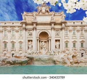 facade of restored Fountain di Trevi in Rome at spring day, Italy