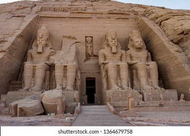 Facade of the rock cut temple of Ramses II at Abu Simbel, Egypt.Ramses II built numerous monuments to himself throughout Nubia in what is now southern Egypt.