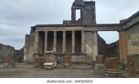 Facade of roman building in Pompeii (Italy)