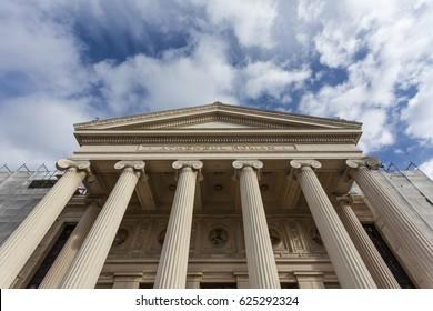 Facade of the Romanian Atheneum in Bucharest, Romania
