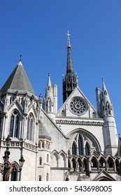 Facade of Royal Court of Justice in London, UK