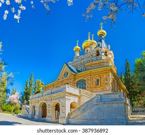 The facade of the  Russian Orthodox Church of Mary Magdalene, located on the Mount of Olives, Jerusalem, Israel.