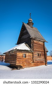 Facade of the russian wooden church in Yuryev-Polsky