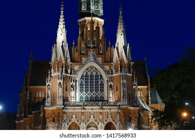 Facade of Saint Joseph Church (Parish of St. Joseph) by night - a historic Roman Catholic church in south-central part of Krakow, Poland.