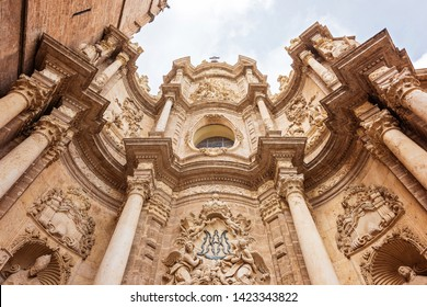 The facade of the Saint Mary Cathedral in Valencia, Spain. Baroque style architecture. Wide angle shot