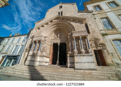 Facade of the Saint Trophime Cathedral in Arles, France. Bouches-du-Rhone, France