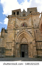 Facade of the Saint-Pierre-et-Saint-Paul church of the Benedictine Priory of Souvigny, Allier, France