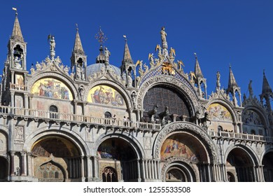 Facade of the San Marco basilica in Venice, Italy