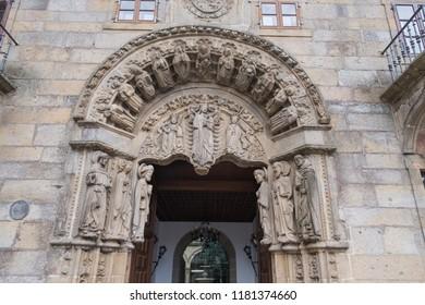 Facade of San Xerome College, romanesque work in Santiago de Compostela. Galicia. Spain.