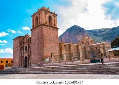 Facade of Santa Isabella Church in Pucara Puno. Peru