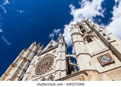 Facade of Santa MarIa de Leon Cathedral, Leon, Spain