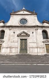 Facade of Santa Maria del Popolo. The Parish Basilica of Santa Maria del Popolo, located in Rome, is run by the Augustinian Order.