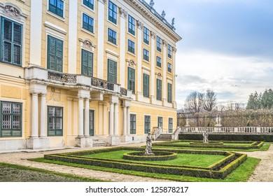 facade of Schonbrunn Palace in Vienna Austria
