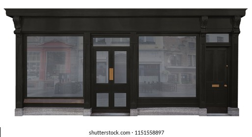 Facade of shop with black wooden facade two shop windows and two doors isolated on white background