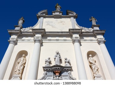 Facade of the small baroque Saint Anthony church in Aquileia, Italy